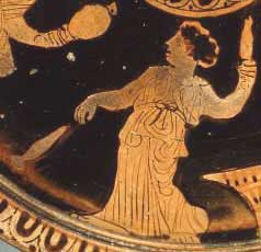Greek vase with a woman spinning