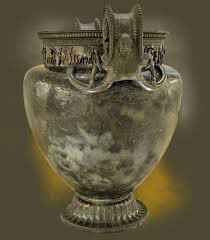 Vix crater: a large bronze jar for mixing wine made in Greece and found in a rich woman's tomb in central France (ca. 500 BC)