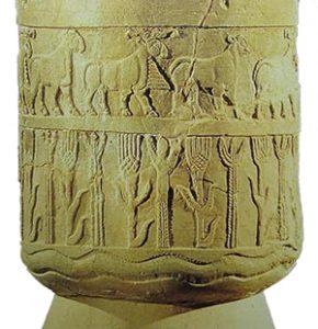 Wheat and barley on the Warka Vase (Sumeria, ca. 3200-3000 BC)