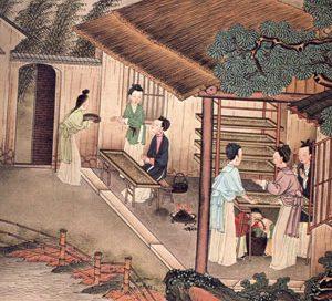 Women working in a silk factory