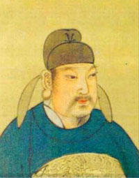 Emperor Wuzong, an Asian man in a blue robe