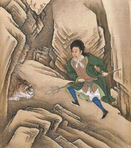 Yongzheng Emperor wearing European clothes and hunting a tiger