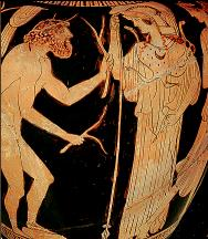 Odysseus and Athena, on a red-figure vase