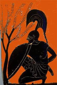Achilles, on a Greek black-figure vase from around 530 BC