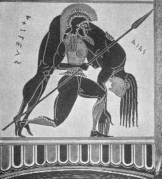 Ajax carrying the dead Achilles on a black figure vase from Athens in the 500s BC