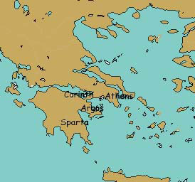 Map showing Corinth