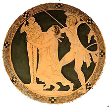 Ajax drags Cassandra away from the altar on an Athenian red-figure vase: the Cassandra myth