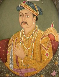 Akbar - an Indian man wearing ropes of pearls - Mughal Empire