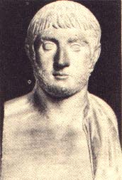 Alcibiades marble bust of a white man with short hair and a very short beard