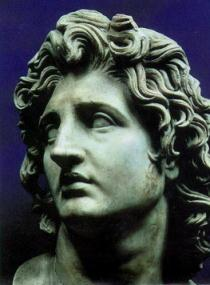 Alexander the Great stone bust of white man with long curly hair