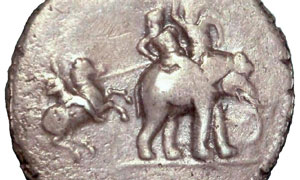 Alexander fights the Indian king Porus (silver coin of 322 BC)