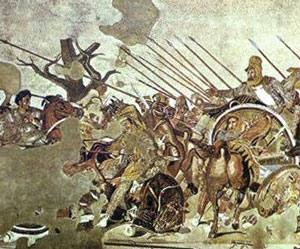 Alexander fights Darius at Issus (mosaic from Pompeii)