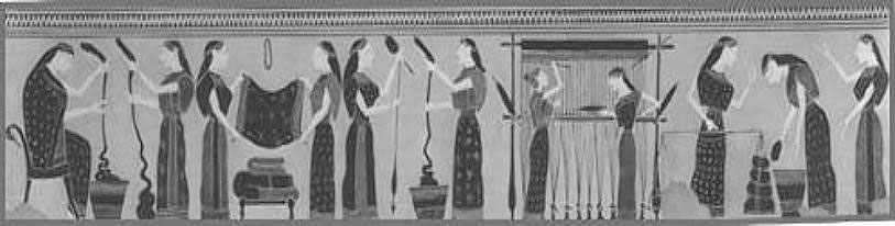 A textile production line (Amasis painter, about 540 BC)