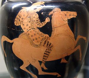 A Greek depiction of an Amazon (Athens, ca. 420 BC; Wikimedia)