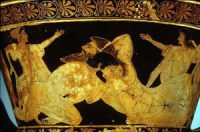 two white men wrestling on a red figure vase