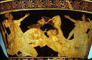 two white men wrestling on a red figure vase