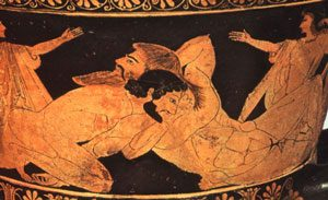 Red figure vase from Athens, showing Herakles wrestling Antaeus