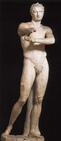 Apoxyomenos (man scraping oil off after exercise)