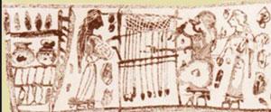 Arachne weaving her cloth (Corinthianperfume pot, ca. 575 BC)