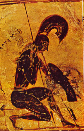The god Ares, on an Athenian black figure vase from about 570 BC