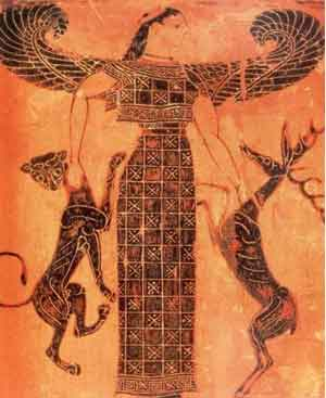 Artemis as the Mistress of Beasts (from the black-figure Francois vase, about 570 BC)