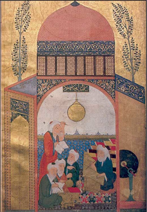 Islamic astronomers, with a gold astrolabe hanging from the ceiling