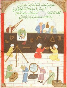 Islamic astronomers taking observations