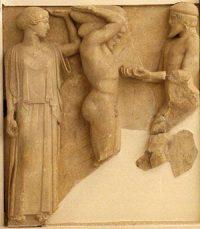 Athena helps Herakles hold up the sky