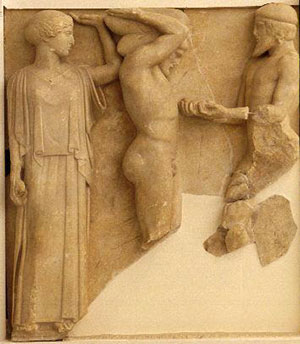 Athena helps Herakles hold up the sky
