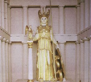 A model of the gold and ivory statue of Athena inside the Parthenon