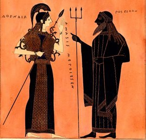 An armed woman and a man in robes carrying a trident, on a black-figure vase