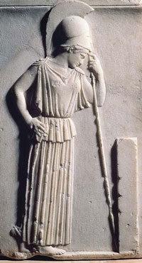 Athena carving leaning on spear