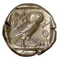 Athenian silver coin with Athena's owl