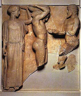 Herakles holds up the world. (Athena is helping him.)