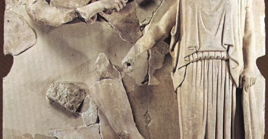 Herakles cleaning the Augean Stables (Metope from Olympia, ca. 460 BC)