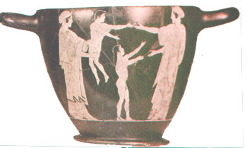 Two women playing with little boys on a red figure Athenian vase
