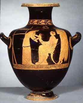 A slave nanny taking the baby (see the loom behind her?) Greek red-figure vase from Athens, about 450 BC