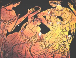 Herakles as a baby, on a red-figure vase from Athens (400s BC)