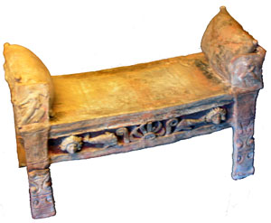 Clay model of a Greek bed