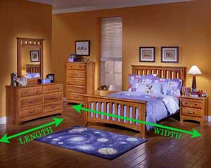 A bedroom with the width and length marked in green arrows