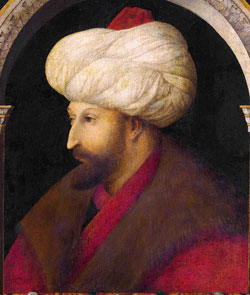 Sultan Mehmed II (by the Venetian painter Gentile Bellini, 1479 AD)