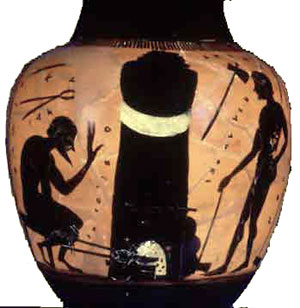 Black-figure vase showing a blacksmith at work (Athens, about 550 BC)