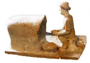 Woman baking bread: Ancient Greek food