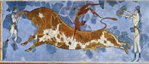 Minoan fresco painting (from Crete) of a man doing acrobatics with a bull (about 1500 BC)