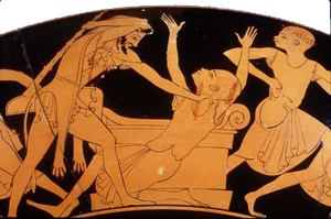 Hercules kills the Egyptians on a red-figure vase