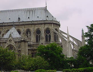 Flying buttresses on the end of the apse