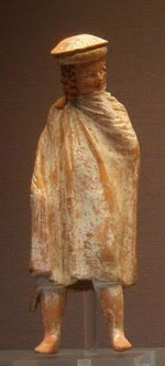 Boy in Macedonian hat, cape, and boots - Ancient Greek clothing
