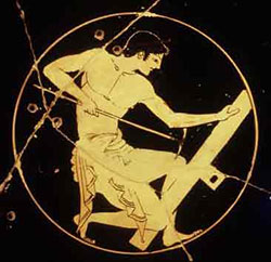 A Greek man doing carpentry (Athens, 400s BC)