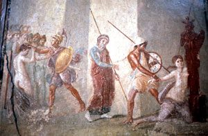 Cassandra dragged away from the altar (House of Menander, Pompeii, ca. 70 AD)