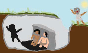 Plato's Cave: Allegory of the Cave. Two men sit with their backs to the wall inside a cave. They can only see the shadows of things outside the cave.